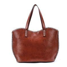 New Fashion Women's Girls Fashion Western Pattern Plaited Side PU Leather Tote Bag Shoulder Bag Handbag