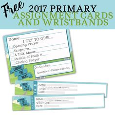 2017 Assignment Cards and Wristbands