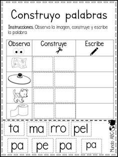 Word Work Activities, First Grade Activities, Spanish Activities, Speech Therapy Activities, Speech Language Therapy, Speech And Language, Spanish Language, Learn Spanish Free, Spanish Lessons For Kids