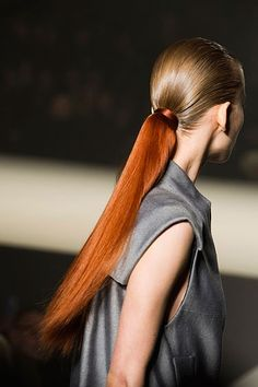 Two tone ponytail runway hair- guess this is the new thing huh?????