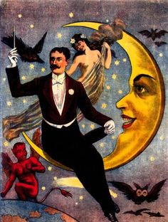 A vintage poster depicting a magician and sinister influences.
