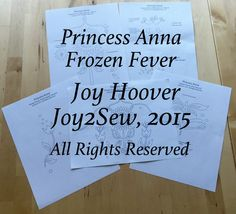 Princess  Anna Frozen Fever dress stencil template designs by joy2sew on Etsy