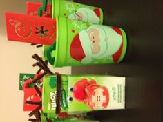 Reindeer juice boxes and Christmas kids cups great for school.