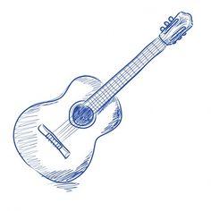 acoustic guitar, sketch, drawing, illustration