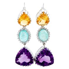 White Gold Diamond Amethyst Aquamarine and Topaz Earrings | From a unique collection of vintage dangle earrings at https://www.1stdibs.com/jewelry/earrings/dangle-earrings/