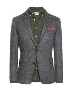 Wool-blend unstructured blazer