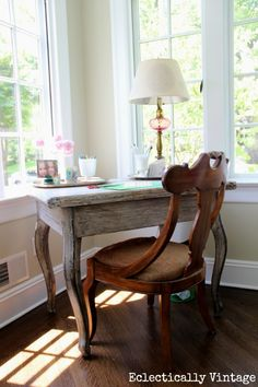 My 3 Zone Sunroom Tour - Eclectically Vintage Cheap Dining Tables, Ikea Dining Table, Dining Chairs, Sunroom Office, Home Office, Leaning Shelf, Big Comfy Chair, Yellow Desk, Floral Chair
