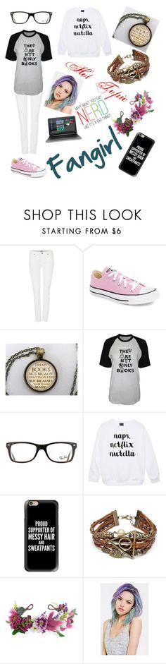 """""""Fangirl"""" by crisis-of-existentiality ❤ liked on Polyvore featuring Paige Denim, Converse, Ray-Ban, Casetify, Rock 'N Rose and HP"""