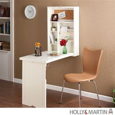 Wall Mounted Convertible Folding Desk in White