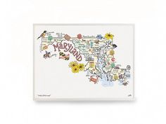 Showcase your home state pride or remember a favorite vacation spot with a Made in the USA state map print. Maker Anne Klein's original artwork highlights what makes each state great—like its historic landmarks, official flag, and state bird.