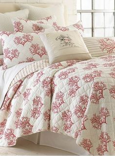 coral quilt set