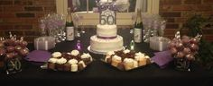 50th Birthday Celebration. Purple, Silver and Black décor.