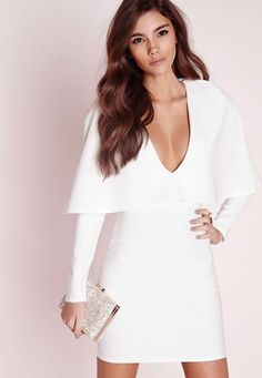 Missguided - Crepe Long Sleeve Cape Dress White