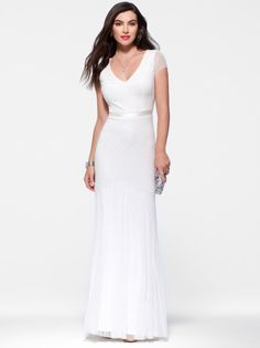Ivory Beaded Cap Sleeve Gown #CacheStyle