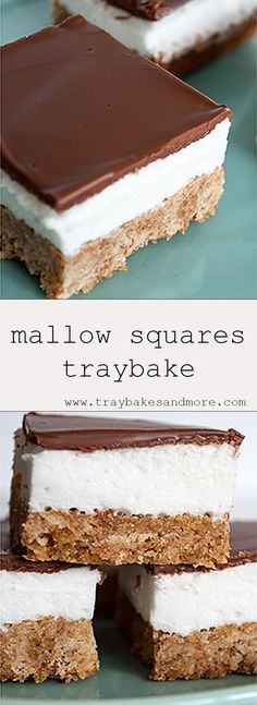 This Mallow Squares traybake has a squishy, gooey, homemade marshmallow middle, chocolate topping and a crunchy, coconut and weetabix base Baking Recipes Uk, Tray Bake Recipes, Cake Recipes, Dessert Recipes, Cooking Recipes, Fudge Recipes, Apple Recipes, Coconut Marshmallow Recipe, Easy Homemade Cookies