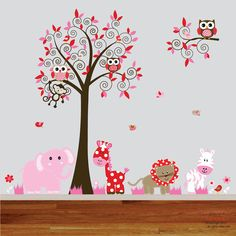 Vinyl wall decal nursery swirl tree branch with owls and birds pink red colorful leaves nursery wall art