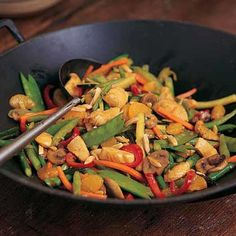 Mandarin oranges and apricot preserves add a fruity sweetness to this veggie-packed chicken stir fry recipe. Orange Chicken Stir Fry, Chicken Vegetable Stir Fry, Easy Chicken Stir Fry, Chicken And Vegetables, Veggies, Wok Recipes, Stir Fry Recipes, Asian Recipes, Chicken Recipes
