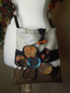 Shabby Chic CROSSBODY Bag, Upcycled HIP Bag, SLING Bag, Boho Slouch Purse, Pale Blue and Bronze, Floral Applique Hobo Bag