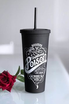 Pick yer poison and fill 'er up! This baby can hold a huge slosh of any of yer fave cold drinks. Starbucks Tumbler Cup, Coffee Tumbler, Halloween Cups, Disney Halloween, Halloween Ideas, Goth Home Decor, Poison, Coffee Accessories, Personalized Cups