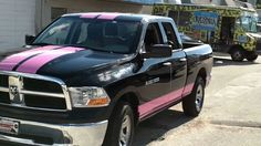 black dodge ram pink ( red) racing stripe