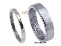 Set of two rings one 14k yellow one palladium - by Brent & Jess Custom Handmade Fingerprint Wedding Rings and Jewelry