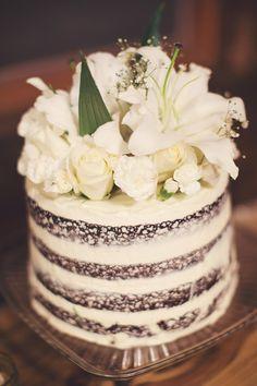 chocolate naked cake wedding cake
