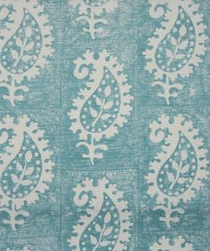 Vanessa Arbuthnott Life & Eternity - Hand printed paisley in teal on an off white cloth