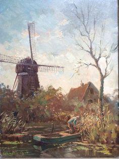 Hendrik van Leeuwen van Oudewater 1890-1972 'Molen langs een vaart' Techniek: olieverf op doek