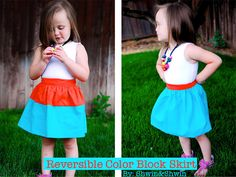 Shwin: Reversible Color Block Skirt Free Pattern  - need to make this for my little miss!!