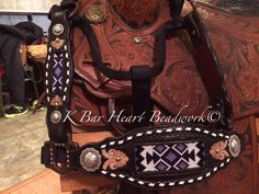 K bar heart beadwork.   Custom made beaded headstalls, beaded tack, beaded headstalls, beaded spur straps, beaded bronc halter, beaded belts  Custom cowboy beadwork.   Www.facebook.com/kbarheartbeads