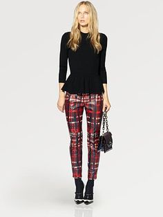 Tory Burch winter look, peplum and plaid