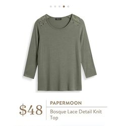 Stitch Fix: Papermoon Bosque Lace Detail Knit Top - a perfect olive colored fall top