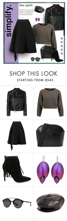 """Purple Happy"" by michelletheaflack ❤ liked on Polyvore featuring Dsquared2, Brunello Cucinelli, Lanvin, A.P.C., Pierre Balmain, Christian Dior, Undercover, fringe, polyvorecontests and styleinsider"
