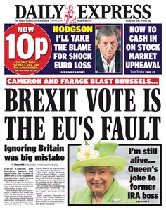 Classic UK Tabloid headline on Brexit