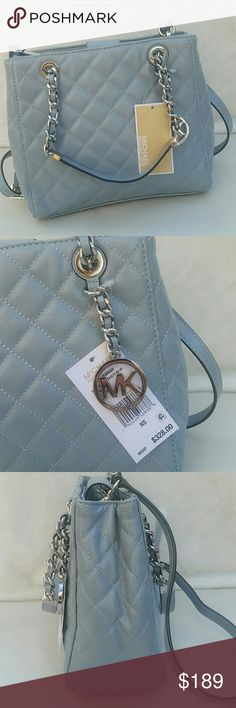 """Michael Kors Susannah Dusty Blue Small Tote Michael Michael Kors Leather Susannah Dusty Blue Small North South Tote New With Dust Bag Bag Length 9.5"""" Bag Height 8"""" Bag Depth 4.5"""" Brand New With Tags Authentic MICHAEL Michael Kors Bags Totes"""