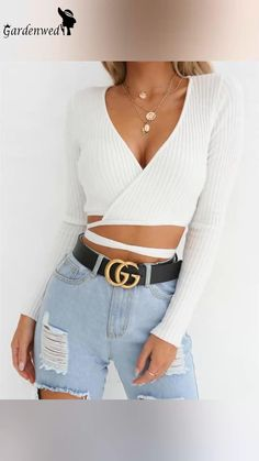 Teenager Outfits, Girly Outfits, Cool Outfits, Cropped Tops, Streetwear, Crop Top Dress, Shirt Bluse, Running Shirts, Knit Shorts