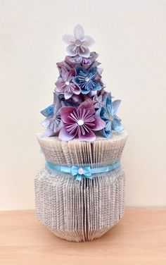 Bev's Bookfolding Blog: Folded book vase, with paper flowers