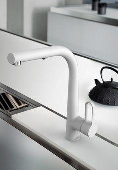 Countertop brushed-finish kitchen mixer tap SKINNY F7026 | Brushed-finish kitchen mixer tap - FIMA Carlo Frattini