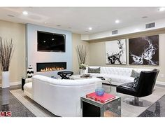 TV over fireplace NO built-ins flanking Tv Over Fireplace, Basement Fireplace, Fireplace Design, Fireplace Ideas, Earthy Living Room, Living Room Lounge, Hall House, Sherman Oaks, Built Ins