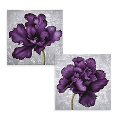 Plum Flower Wall Art - Bed Bath & Beyond.these would be great for my bedroom Purple Wall Decor, Purple Walls, Purple Bathroom Decorations, Plum Decor, Gray Walls, Plum Bedding, Purple Bedrooms, Plum Flowers, Diy Room Decor