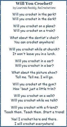Crochet!!!--pick a topic and Dr. Seuss it!