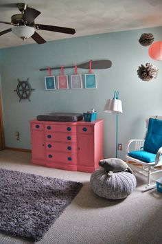 Brooklyn's nursery is mermaid themed, based on a color palette of coral, gray, and shades of aqua. Mermaid Nursery Theme, Mermaid Bedroom, Nursery Themes, Nursery Ideas, Coral Nursery, Nautical Nursery, Baby Room Neutral, Big Girl Rooms, Project Nursery