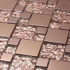 Giorbello Venetian Random Sized Glass and Aluminum Mosaic Tile in Copper Goddess Mosaic Tiles, Wall Tiles, Glass Tiles, Tiling, Backsplash Tile, Tin Tiles, Mosaic Bathroom, Mosaic Wall, Küchen Design