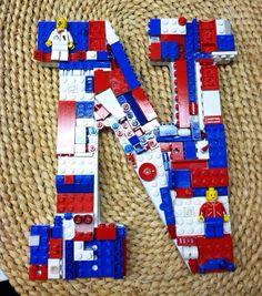 Custom toy brick letter N red white and blue von MosaicTreasureBox