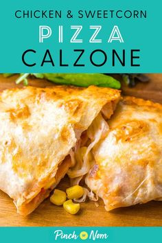 This Chicken and Sweetcorn Pizza Calzone is a mega tasty dinner whether youre counting Calories or ing a diet plan like Weight Watchers! Chicken And Sweetcorn Pizza, Easy Dinner Recipes, Easy Meals, Simple Recipes, Cooking Recipes, Healthy Recipes, Drink Recipes, Healthy Foods, Slimming Eats