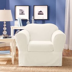 Sure Fit Cotton Twill Slipcover 2 pc Chair Slipcover Chair Furniture Slipcovers, Slipcovers For Chairs, Home Furniture, Furniture Design, Slipcover Chair, Patterned Chair, Old Farm Houses, Armchair, Living Room