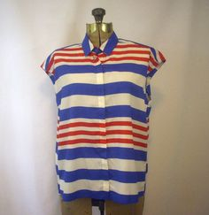 Red White and Blue Striped 80's Blouse Aqua by SoleilVintageShop