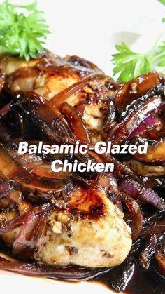 Chicken Seasoning, Crockpot Recipes, Chicken Recipes, Balsamic Glazed Chicken, Mushroom And Onions, Boneless Chicken Breast, Balsamic Vinegar, Food Dishes