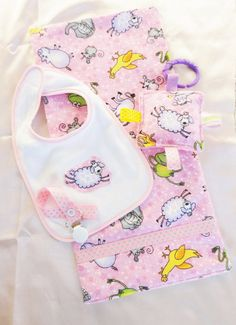 Baby Girl Burp Pad Set Comes with pink animal by Sassydoodlebaby, $9.99