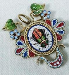 Micro Mosaic Egyptian Revival Scarab Beetle Antique Victorian Pendant #Pendant